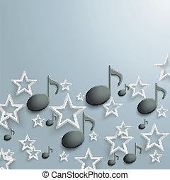 Black Music Notes White Stars