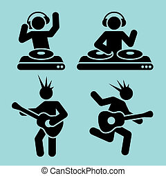 music pictograms - black music pictograms of dj and guitar...