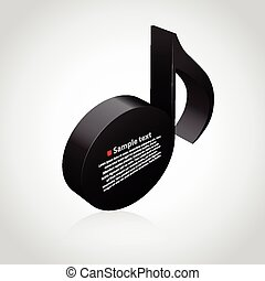 Black musical note 3D.