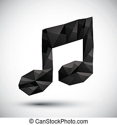 Black musical note geometric icon made in 3d modern style, best
