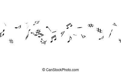 Black Musical Notes On White Background. Loop able 3DCG...