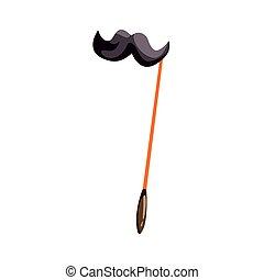 Black mustache on a stick, celebration party symbol cartoon vector Illustration