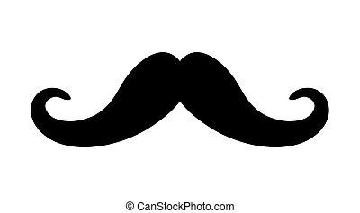Black Mustache over white background. vector graphic