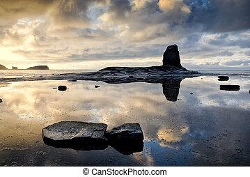 Black Nab at sunset, Saltwick Bay, England (8) - Black Nab ...