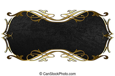 Black nameplate with gold ornate edges, isolated on white background