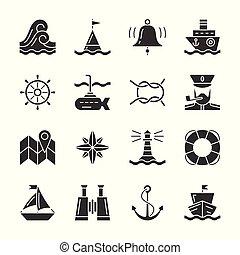 black , nautisch, set, silhouette, pictogram