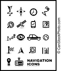 Black navigation icon set