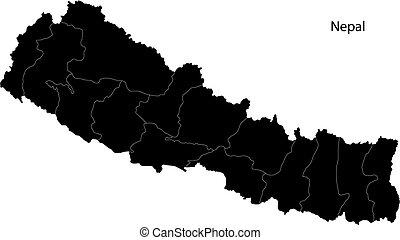 Black Nepal map