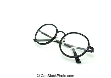 black , nerd, bril, vrijstaand, op wit