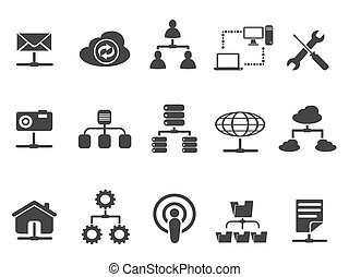 black , netwerk, iconen, set