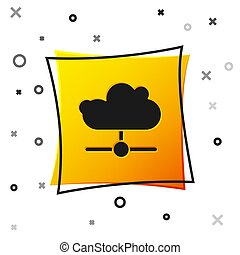 Black Network cloud connection icon isolated on white background. Social technology. Cloud computing concept. Yellow square button. Vector