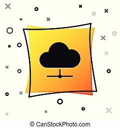 Black Network cloud connection icon isolated on white background. Social technology. Cloud computing concept. Yellow square button. Vector Illustration