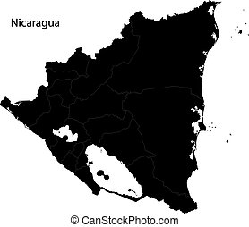 Black Nicaragua map
