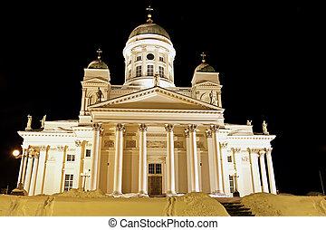 Black Night in Helsinki. Beatiful Lutheran Cathedral