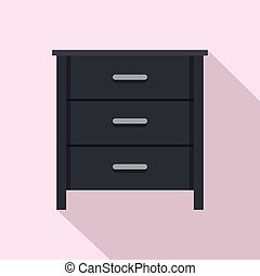 Black nightstand icon, flat style