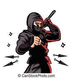 black , ninja, cartoon.