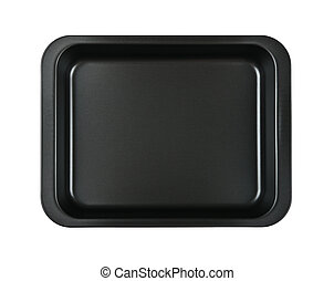 Black nonstick tin baking mold case isolated - Close up one ...