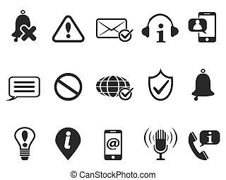 black notification and information icons set