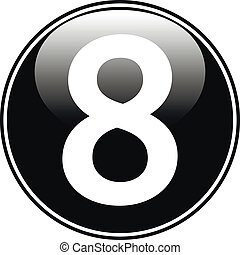 Black number eight button
