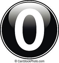 Black number zero button