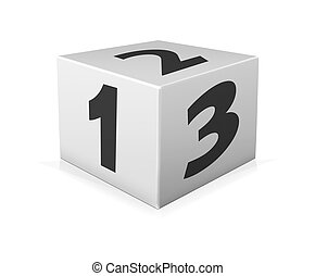 One 123 block on white background