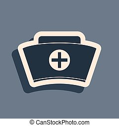 Black Nurse hat with cross icon isolated on grey background. Medical nurse cap sign. Long shadow style. Vector Illustration