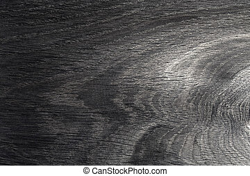 Black oak wooden wall background, texture of dark bark wood with old natural pattern for design.