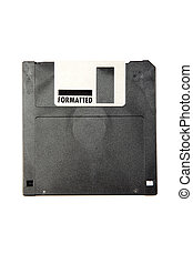 Black obsolete diskette isolated on white background.