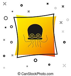 Black Octopus icon isolated on white background. Yellow square button. Vector