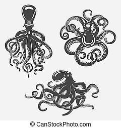 Black octopus or underwater swimming mollusk. Ocean...
