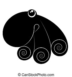 Black octopus silhouette isolated on white background. Vector illustration.