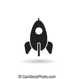 black of rocket flat vector icon