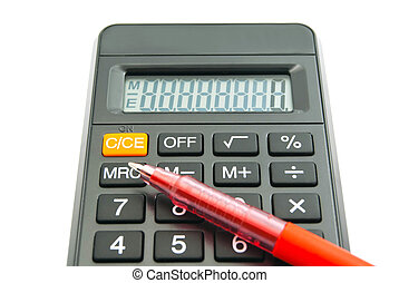 office calculator and pen