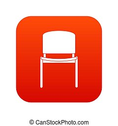 Black office chair icon digital red