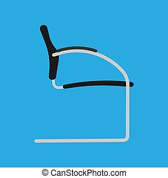 Black office chair vector flat icon side view. Comfortable relaxation sign interior furniture equipment nobody