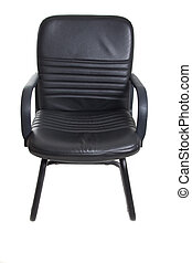 black office chair with wheels on white