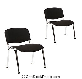 black office chairs isolated on white