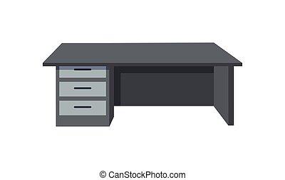 Black Office Desk Isolated on White Background - Black...