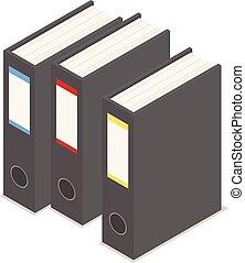 Black office folder icon set, isometric style
