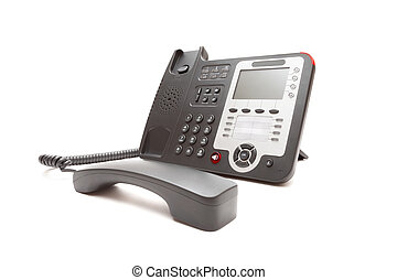 Black office phone isolated