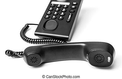 Black Office Phone isolated on white background
