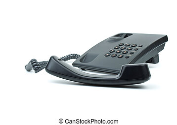 Black office phone with handset in foreground
