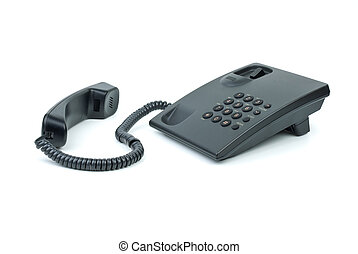 Black office phone with handset near