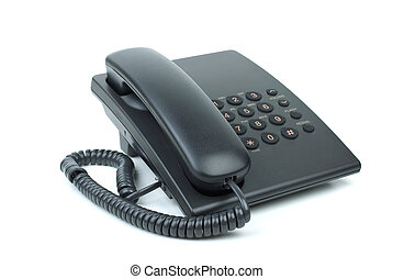 Black office phone with handset on-hook