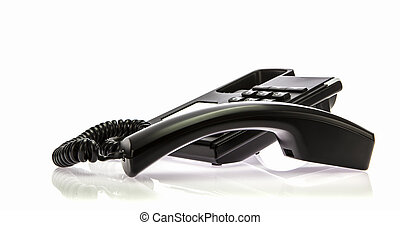 Black Office phone with receiver of hook on white background