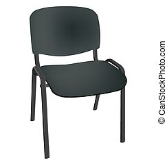 Black office single chair isolated on white