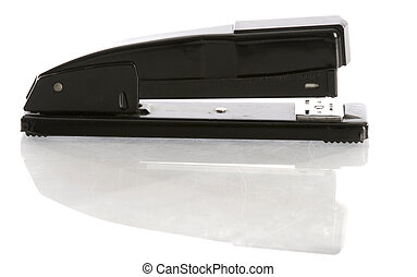 stapler with reflection - black office stapler with...