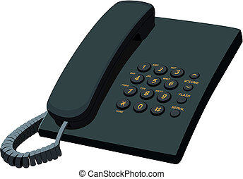 Black office stationery telephone - Illustration of...
