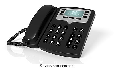 Black office telephone isolated on a white background