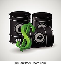black oil barrel and the sign of dollar